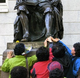 The statue of John Harvard's shoe is constantly rubbed.