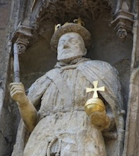 Henry VIII at Trinity College, Cambridge, holding a table leg